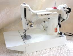White Singer Featherweight Sewing Machine For Sale