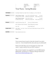 resume template word acting resume template word