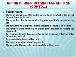 Nursing Incident Report Example Rome Fontanacountryinn Com