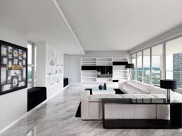 Modern Black And White Living Room Ultra Modern Sky Condo Interior Design Black White Schemes Modern