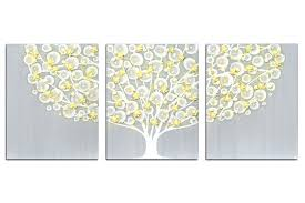 grey yellow wall art mustard and textured painting abstract with gray tree on canvas triptych large for kitchen