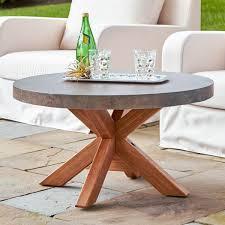 Round outdoor coffee table Grey Round Stone Coffee Table Insteading Outdoor Coffee Tables Insteading
