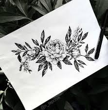 эскиз татуировки цветы черно белые 45100 тату салон дом элит тату