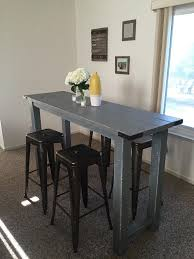 table bar height chairs diy: this is a handmade rustic bar height table chairs not included this is perfect for small apartments kitchen islands patios etc email more