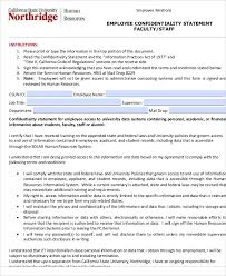 Employee Confidentiality Agreement 10+ Sample Confidentiality Statements – PDF, Word | Sample Templates