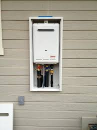 outdoor tankless water heater water heater and outdoor water heater enclosure installed on wall rheem outdoor outdoor tankless water heater