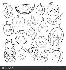 Coloring Pages Vector Set Cute Fruits Coloringook Kids Stockooks