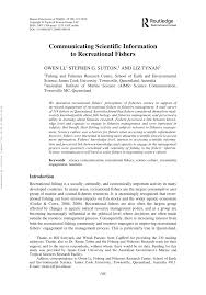PDF) Communicating Scientific Information to Recreational Fishers