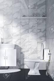 3d Rendering Illustration Der Weißen Toilette Und Bad Mit Marmor