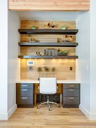 Small trendy built-in desk medium tone wood floor study room photo in Salt  Lake