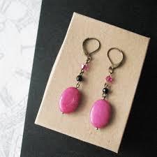 pink earrings magenta jade stone chandelier earrings jewelry for women