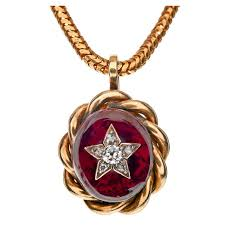 victorian diamond garnet yellow gold hair locket pendant for
