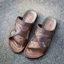 Fashion <b>Men</b> Leather Beach <b>Slippers</b> Outdoor Summer Cool ...
