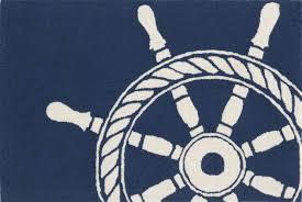 trans ocean frontporch ship wheel navy rug 30