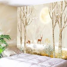 light yellow w91 inch l71 inch moon night elks print tapestry wall hanging art decoration ivlhto