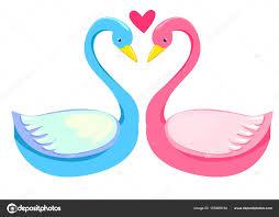 Dessin Couple De Cygnes Amoureux Image Vectorielle Alsoush