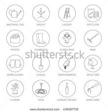 garden tools names. set of garden tools, round thin line icons gardening equipment and name , agricultural tool tools names