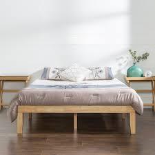inch wood platform bed  natural finish  zinus