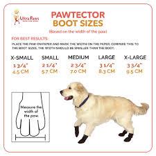 Ultra Paws Pawtectors Waterproof Dog Boots Sizing Chart