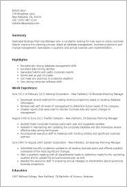 business plan template sample 1 business planning manager resume templates try them now