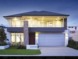 Balcony Over Garage Design Two Storey Facade Dark Grey Roof Stone Feature Balcony