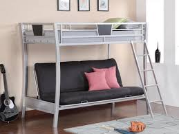 Dynamo Twin Full Kids Grey Metal Futon Bunk Bed