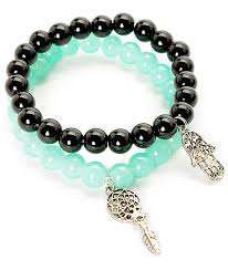 Dream Catcher Bracelet Meaning Awesome Stone Locket Hamsa Dreamcatcher Beaded Bracelet 32 Pack Zumiez
