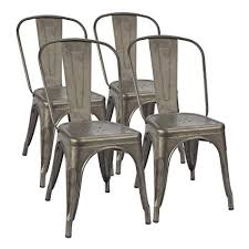metal dining chairs. Exellent Dining Furmax Metal Dining Chair IndoorOutdoor Use Stackable Classic Trattoria  Chic Bistro Cafe And Chairs Amazoncom