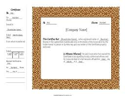 Template For Stock Certificate Free Stock Certificate Template Share Corporate Templates