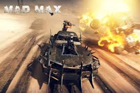 people are racing and fighting in heavily modified cars in mad max
