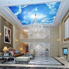 3d Ceiling Design Wallpaper Photo Wallpaper Large Clouds 3d Interior Ceiling In The