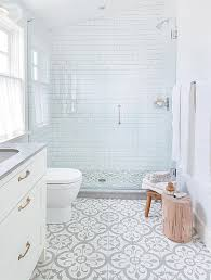 adorable printed tile floor with small glass shower room for white bathroom ideas with large windows