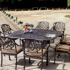 Aluminum patio furniture Grey Bbq Guys Darlee Elisabeth Piece Cast Aluminum Patio Dining Set Bbq Guys