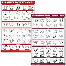 Quickfit 2 Pack Resistance Bands And Resistance Loops Workout Posters Set Of 2 Laminated Charts Resistance Band Tubes And Loops Exercise Charts