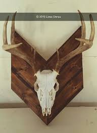 european mount boiled treated and spray painted the deer skull torched the wood