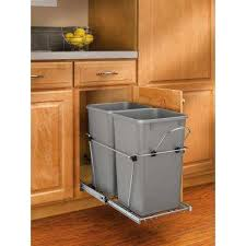 Pull Out Trash Cans Kitchen Cabinet Organizers The Home Depot Regarding Under Counter Can Designs 16