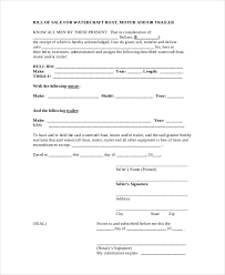Standard Bill Of Sale For Boat Free Bill Of Sale Form Template Vehicle Car Auto Dmv
