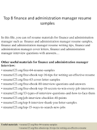 Top8financeandadministrationmanagerresumesamples 150410091043 Conversion Gate01 Thumbnail 4 Jpg Cb 1428675090