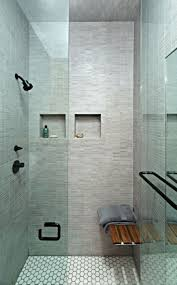 Shower Design Walk In Shower With Glass Doors And Grey White Tiling Picture
