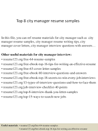 Top 8 city manager resume samples In this file, you can ref resume  materials for ...