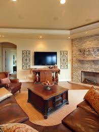 contemporary living room with corner fireplace. Beautiful Contemporary Living Room Sofa Leather Cushions Coffe Table Brown Wall Stone Cabinets With Corner Fireplace