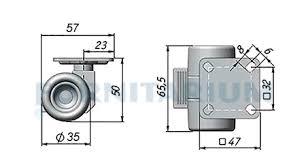 <b>Опора двухколесная с</b> площадкой, D35 мм, без стопора , мягкий ...