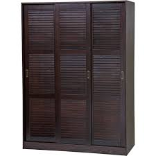 3 sliding door wardrobe closet armoire with 1 large 4 small shelves 100 solid wood java finish additional shelves sold separately
