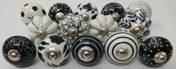 Black And White Assorted Ceramic Knobs Hand Painted Ceramic Etsy