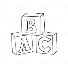 それらの上にアルファベットで落書きスタイルの子供のブロックのおもちゃ