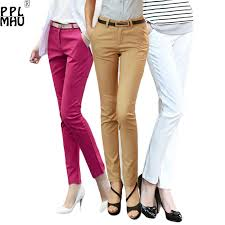 Casual Trousers Women <b>95</b>% <b>Cotton</b> Elastic Slim Skinny Pants ...