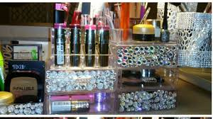 dollar tree diy acrylic makeup organizer with floating brush holders