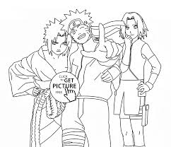 Small Picture Naruto Sasuke and Sakura anime coloring page for kids manga