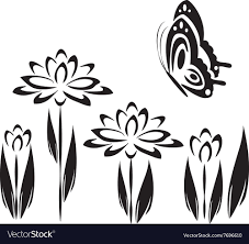 Flower And Butterfly Stencil Designs Black Butterfly And Flowers 2