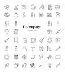 decoupage tools and accessories vector line icons decorating boxes furniture frames with decorating paper i37 furniture